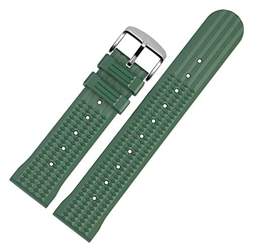 Beapet Banda de Reloj de Silicona 20 mm 22 mm Reloj de Goma Correa para Hombres Deporte Pulsera de muñeca a Prueba de Agua Pulsera de Reloj para Omega (Color : 20mm, Size : Green S)