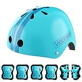 LOVOICE Casco de bicicleta para niños y jóvenes, con rodilleras, coderas y muñequeras, casco para niños con almohadillas de protección para patinaje