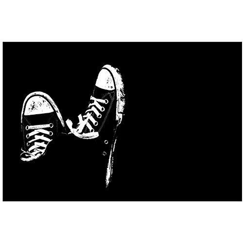 zwart wit kunstwerk vuile sneakers poster print voor kunst aan de muur kamer decoratie woondecoratie cadeaus voor ouders en vrienden-60x90cm geen frame