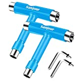 Sanjour All-in-One Skate Tools Multi-Function Portable Skateboard T Tool Kit Accessory with T-Type Allen Key and L-Type Phillips Head Screwdriver for Roller Skates/Skateboard-2 Packs