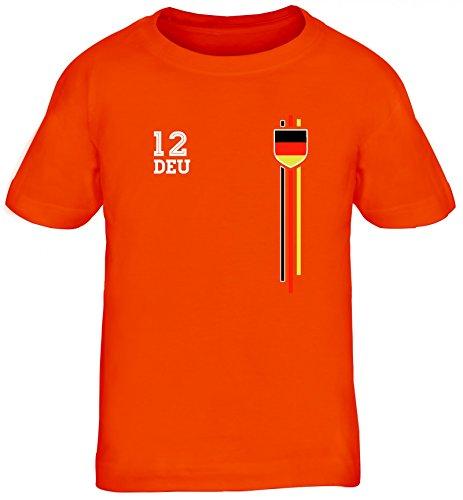 Germany Soccer World Cup Fussball WM Fanfest Gruppen Kinder T-Shirt Rundhals Mädchen Jungen Streifen Trikot Deutschland, Größe: 110/116,orange