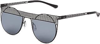 QWKLNRA - Gafas De Sol para Hombre Montura Negra Lente Negra Gafas De Sol Steampunk De Metal Hombres Mujeres Moda Gafas De Sol Vintage Redondas Gafas Uv400 Ciclismo Viajes Pesca Gafas De Sol Al Aire L