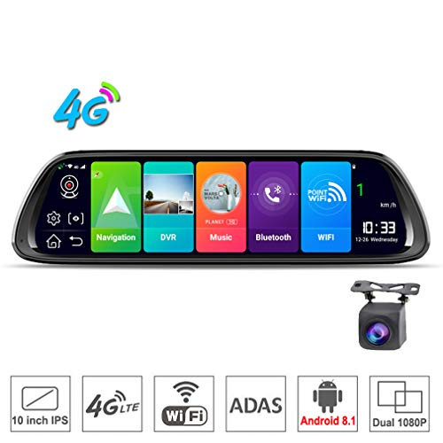 SZKJ D30 10 pulgadas pantalla completa 4G táctil IPS universal paquete cámara de salpicadero de coche espejo de visión trasera con GPS, Navi, Bluetooth, música, WiFi, Android 8.1, lente dual FHD 1080P