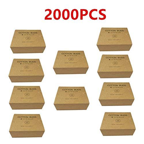 YUELANG 1000 / 2000PC Double Tête Bamboo Cotton Buds Tip Adultes Maquillage Coton Swab Bois Sticks Nez Plastique sans Oreilles Outil De Nettoyage (Color : 2000pcs)