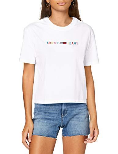 Tommy Hilfiger Tjw Colored Linear Logo tee Camiseta, Blanco (White Ybr), 42 (Talla del Fabricante: X-Large) para Mujer