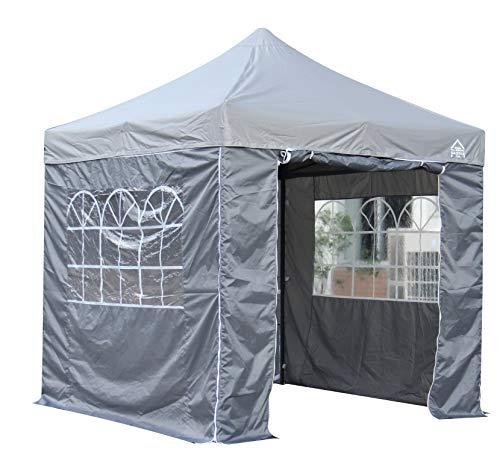 All Seasons Gazebos 2.5 x 2.5m Heavy Duty, Fully Waterproof Pop up Gazebo With 4 Side Walls (Metallic Grey)