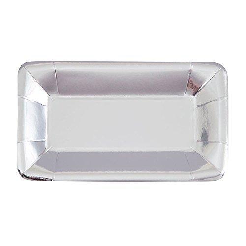 Unique Party - Pack de 8 platos rectangulares desechables para aperitivos (23 x 13cm/Plata)