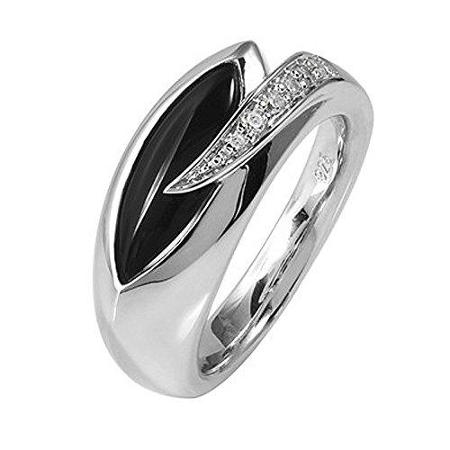 MATERIA Damen Ring Tropfen 925 Silber mit Onyx und Zirkonia rhodiniert Gr. 51-62#SR-40, Ringgrößen:54 (17.2 mm Ø)