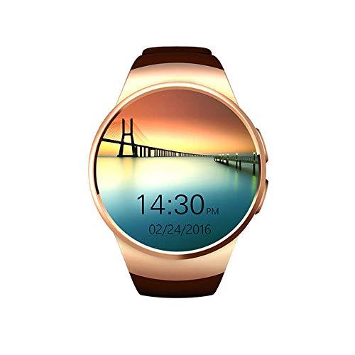 AUBERSIT Aktivitätstracker, Herzfrequenzmesser Smart Watch Männer Frauen Bluetooth Support SIM TF Kartenuhr Simple Sport Silikon Armband Zifferblatt Wasserdicht,braun