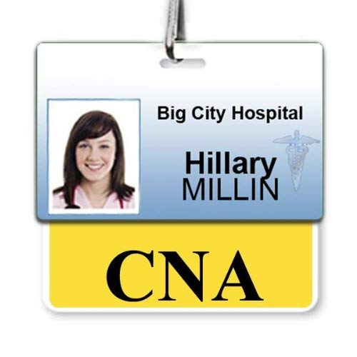 CNA Badge Buddy - Heavy Duty Horizontal Badge Buddies for Certified Nurse Assistants - Spill & Tear Proof Cards - 2 Sided USA Printed Quick Role Identifier ID Tag Backer by Specialist ID