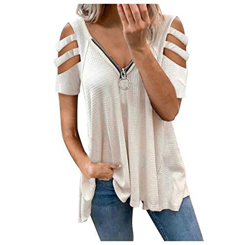 Camiseta informal de manga corta para mujer, con corte en V, con hombros descubiertos, sexy, para verano, elegante, túnica con cremallera B-blanco. XXXXXL