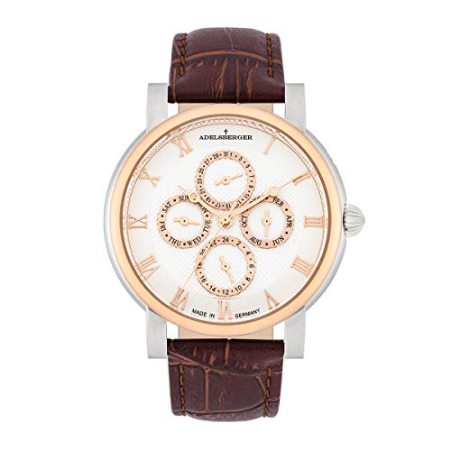 Adelsberger Herren Uhr analog Japan Uhrwerk mit Echtleder Armband 10021021