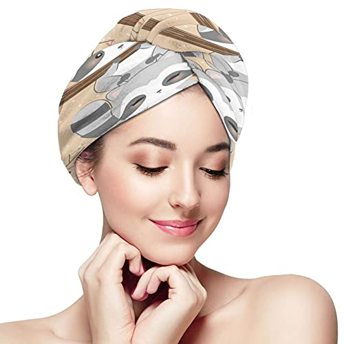 Ultra Absorbent Hair Towel Wrap,Hands Free Hair Drying Towel with Buttons,Quick Magic Dryer Hair Turban Cap for Women Fine Delicate Hair Regular-Funny Little Raccoons Climb Tree