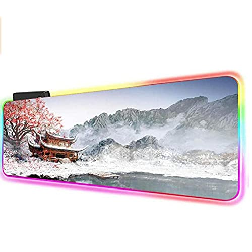 Alfombrilla de ratón grande RGB para juegos, diseño de cerezo con flores de cerezo LED retroiluminado, base de goma antideslizante, 800 x 300 mm