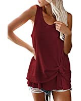 Fixmatti Women Tank Top Waffle Knit Tied Knot Loose Tunic Shirts Ruby S