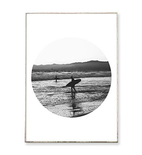DIN A4 Kunstdruck Poster SURF 01 -ungerahmt- Surfer, vintage, Meer, Ozean, Wellen, geometrisch