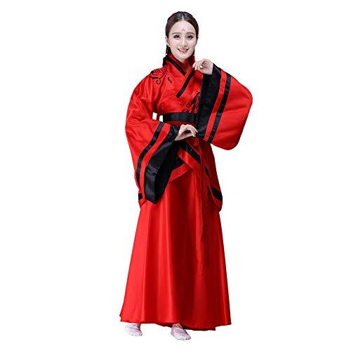 Xingsiyue Mujer Chino Hanfu Vestido, Antiguo Tradicional Disfraz Traje de Tang Ropa de Rendimiento (Rojo,42)