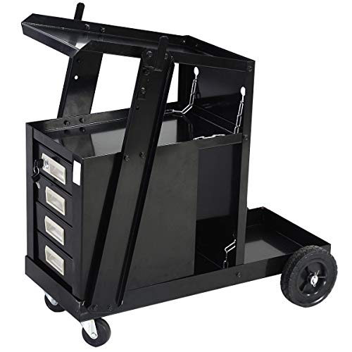 Goplus Welder Cart, MIG TIG ARC Welding Plasma Cutter Tank Storage w/2 Safety Chains, 100 Lb Capacity, Portable 4-Drawer Cabinet
