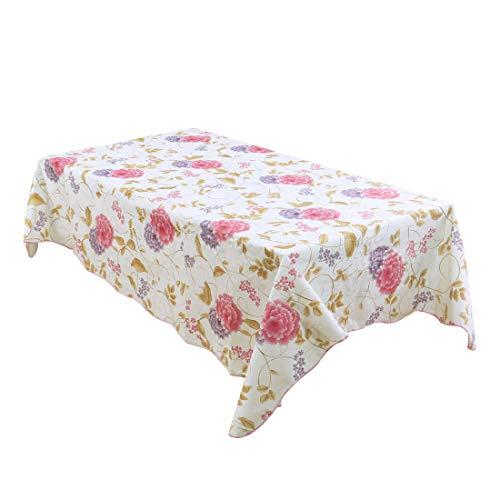 sourcing map Nappe de table vinyle fleur de mauve Rose résistant huile eau impression 53\