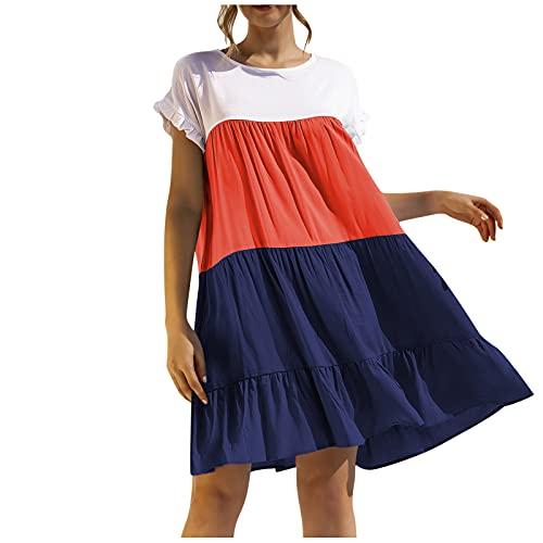 Dress for Women Short Sleeve Shirt Dresses Knee Length Stitching Summer Casual Swing Summer Tunic Sundresses Beach