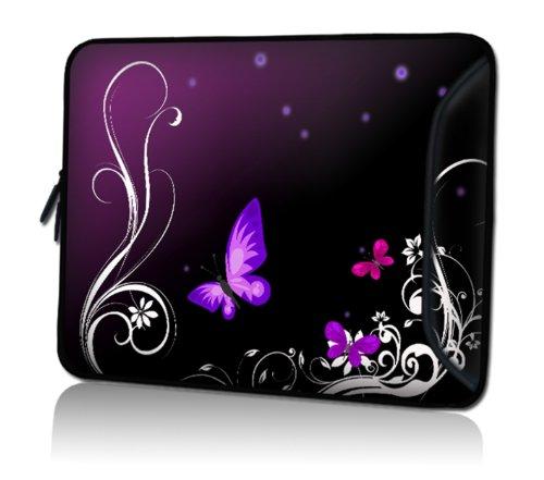 wortek Universal Notebooktasche Schutzhülle aus Neopren mit extra Zusatzfach für Kabel, Maus & Zubehör für Laptops bis 15,4 Zoll - Schmetterling Ranke Schwarz Lila
