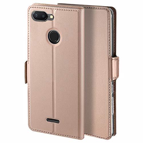 HoneyHülle für Handyhülle Xiaomi Redmi 6 Hülle Xiaomi Redmi 6A Hülle Premium Leder Flip Schutzhülle für Xiaomi Redmi 6/Xiaomi Redmi 6A Tasche, Rose Gold