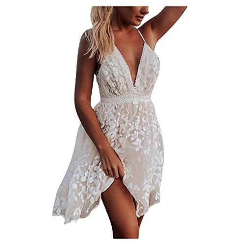 ERNUMK Vestido de verano para mujer, sexy, escote en V, espalda descubierta, sin mangas, con tiras espaguetis, para el tiempo libre, fiestas, playa, vestido midi, Blanco, L