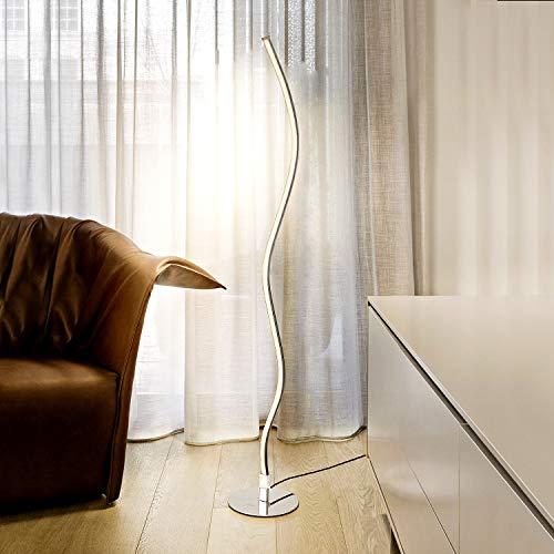 Albrillo Lámpara de Pie LED de Diseño - Lámpara Ondulada Moderna de Metal, 10W 700LM, Blanco Cálido 3000K, con Interruptor de Pie y Cable de 2 m, Iluminación Decorativa para Dormitorio, Sala de Estar