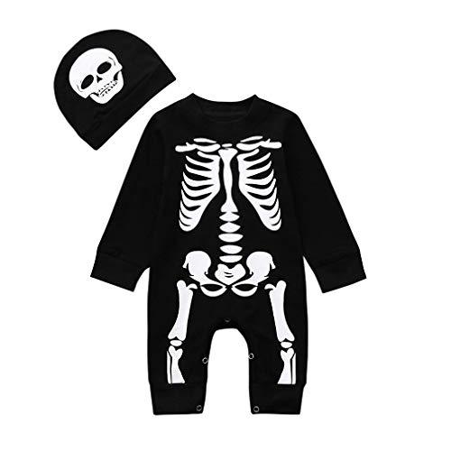 Bebe Niño Halloween Disfraz Esqueleto Peleles de Manga Larga + Sombrero (6 Meses, Negro)