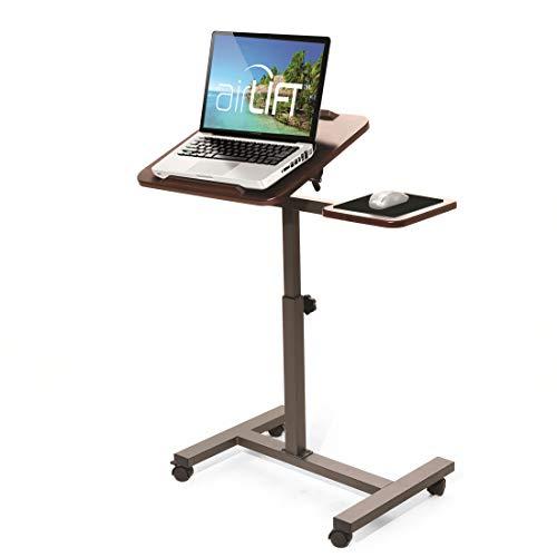 Seville Classics Height Adjustable Sitting Mobile Laptop Desk Cart Ergonomic Table, Tilt with Side (28'), Walnut