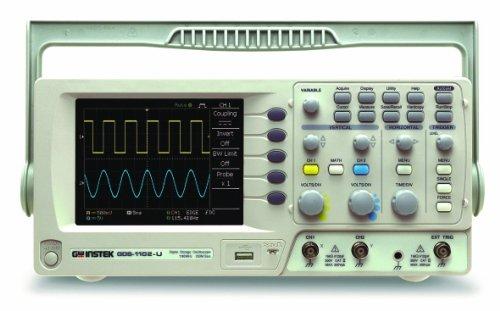 GW Instek GDS-1102-U Digital-Speicher-Oszilloskop, mit 14,5cm großem LCD-Farbdisplay und USB-Port, Bandbreite 100MHz, 2-Kanal, Anstiegszeit 3,5ns