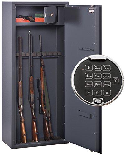 Waffenschrank Format WF 1500-10 Elo (1500x600x335mm) 10 Waffenhalter , Sicherheitsstufe A mit Innentresor Stufe B , Elektronikschloss