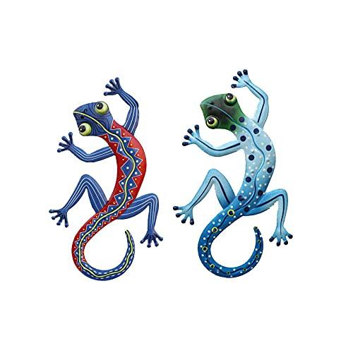 2 piezas Gecko decoración colgante exquisito adorno de pared metal colgante de pared escultura animal decoración colorido jardín artístico adorno para pared jardín patio balcón