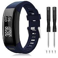 TOPsic Compatible Garmin Vivosmart HR Strap, Soft Silicone Replacement Accessories Adjustable Wristb...