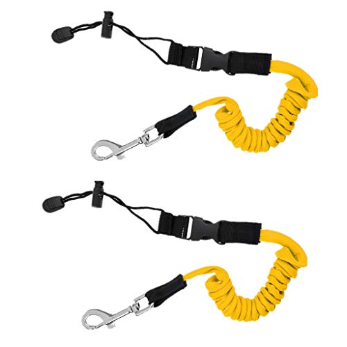 YiMusic 2 Pieces Safety Elastic Kayak Paddle Leash Suit for Kayak Boat Fishing Rod Pole Coiled Lanyard Cord Tie Rope Fixed Ship Items (Yellow)