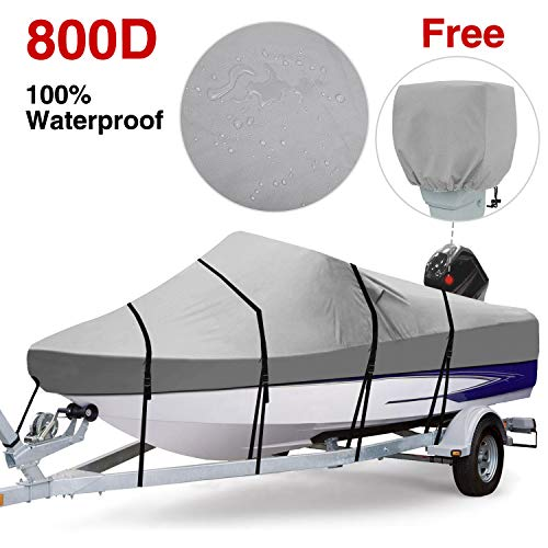 RVMasking Heavy Duty 600D Polyester Trailerable Boat Cover Black