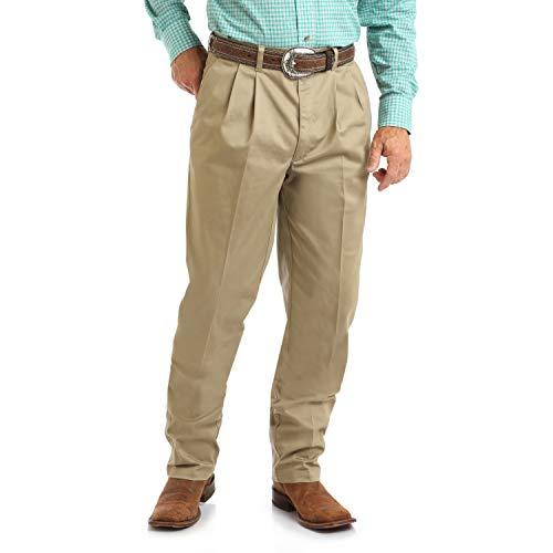 Wrangler Herren Riata Pleated Relaxed Fit Casual Pant Hose, Khaki, 34W / 36L