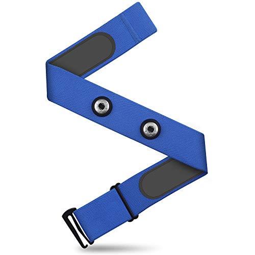 CooSpo Correa de pecho ajustable de repuesto compatible con Wahoo, Polar, Gmamin (distancia de hebilla 45 mm), color azul