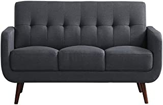 MOOSENG Upholstered Modern Sofa Linen Fabric 3 Seater Sofa Bed Settee Loveseat Sofa with Solid Wood Legs Padded Fabric Sofa Bed in Dark Grey for Home Furniture Living Room Lounge