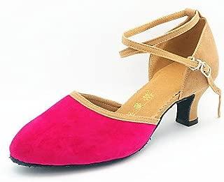 T.T-Q Womens Dance Shoes Modern Suede Paillette Cuban Heel Outdoor More Colors Black and Sliver