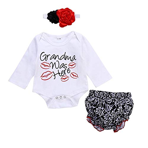 Newborn Girl Clothes Long Sleeve Romper Set Baby Clothes Outfits for Girl (Black, 3-6M)