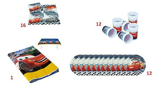 ALMACENESADAN 1074 Pack Fiesta y cumpleaños Disney Cars, Compuesto por 1 Mantel de plástico Fiesta 120x180, 16 servilletas, 12 Platos y 12 Vasos (41 Piezas).