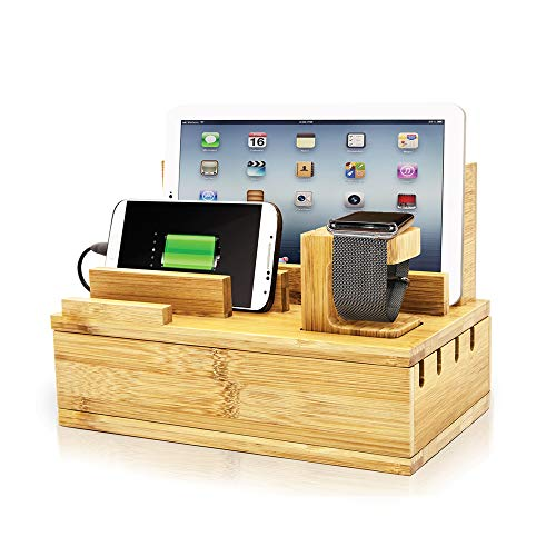 """PowerBot PB5100 40Watt 8Amp 5 USB Port Rapid Charger Universal Desktop Charging Station w/Bamboo Finish, Multi-Device Charging Dock, Organizer Stand for Tablets, Apple Watch, Smartphones up to 5.7"""""""