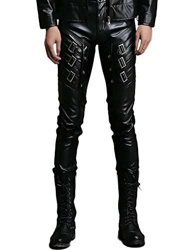 Idopy Men`s Rock Punk Patchwork Leather Pants