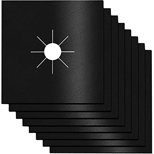"""Stove Burner Covers,0.3 MM Double Thickness,8 Pack,Gas Stove Burner Liners,Non-stick Reusable Gas Range Stove Top Covers for Kitchen,Cuttable,Easy to Clean,Black,Size 10.6"""" x 10.6"""""""