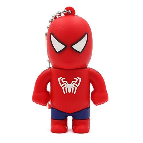 Clé USB Pen Drive Flash USB 2.0 Dessin animé Marvel Spiderman Green Man Batman Ultraman série U-Disque créatif clé chaîne Portable Haute Vitesse Transmission de données (64GB,Spiderman B)