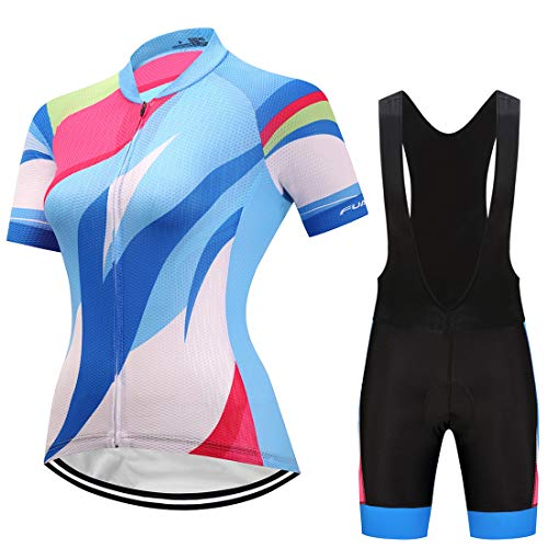 GWELL Damen Radtrikot Atmungsaktive Fahrradbekleidung Set Trikot Kurzarm + Trägerhose mit Sitzpolster für Radsport Blau-Schwarz EU S