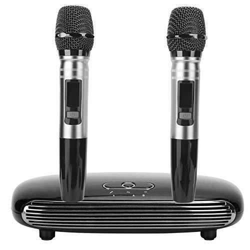 Tragbare Karaoke-Maschine, 2 drahtlose Mikrofone, drahtlose Bluetooth5.0-Übertragung, HDMI 3.5-Audioeingang USB-Soundkarte Karaoke-Gesangsmaschine Kompatibel mit Allen Eingabegeräten(schwarz)