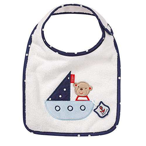 Fehn 00078657 078657 Lätzchen Teddy / Kuschelweicher Babylatz mit Tiermotiv, angenehmer Tragekomfort mit Klettverschluss, für Babys und Kleinkinder ab 0+ Monaten , mehrfarbig