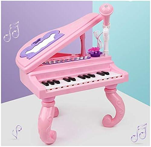 LLRDIAN Kinder Klavier Spielzeug Baby Tastatur Tasten Anf er mit Mikrofon Musikinstrumente (Farbe   Rosa)